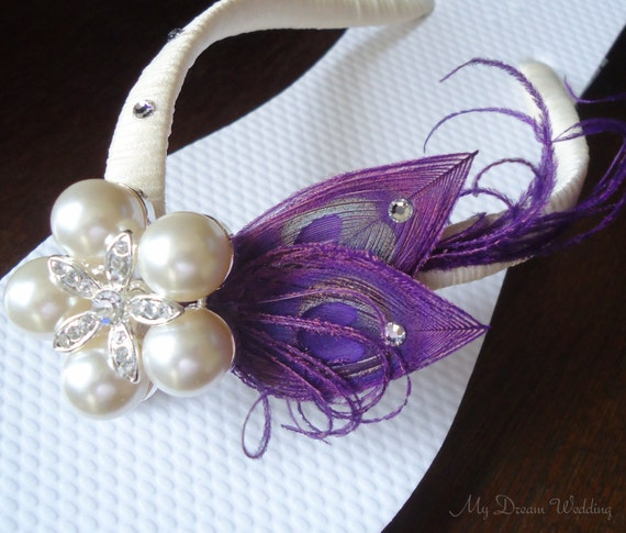 Purple Flip Flops. Peacock Feathers - Ivory wrapped flip flops with SWAROVSKI Crystals -StarFish Pearls Rhinestone -MUST HAVE Collection-
