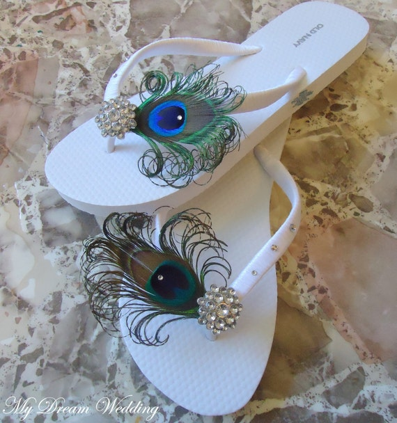 White Peacock Flip Flops With Swarovki Crystals Bridesmaid