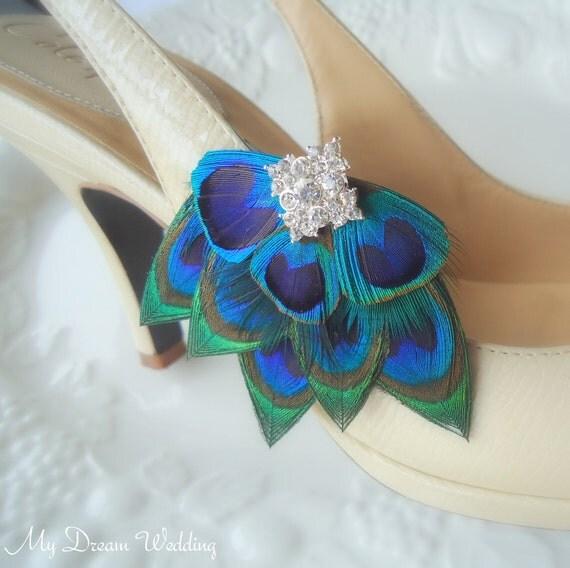 Peacock Shoe Clips. Stunning, Bridal, Wedding, Bridesmaids. Exquisite Original Design -  Style 101