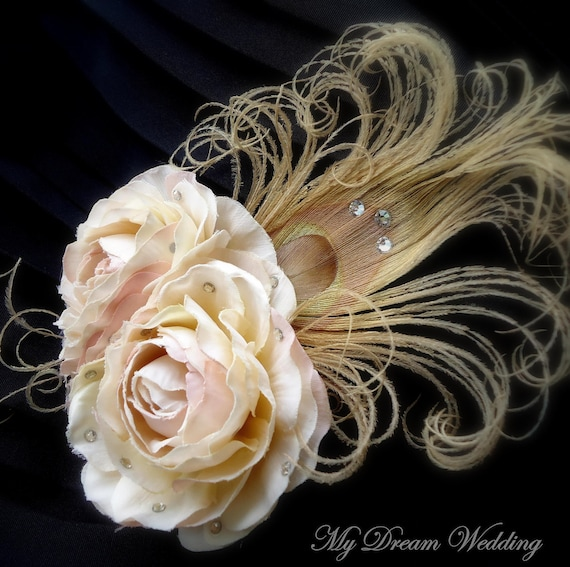 IVORY FASCINATOR.Crystalized Vintage- ivory blush  Ranunculus with Curl beige Peacock Feather.Swarovski Ivory-soft Pink headpice- FLOERENCE