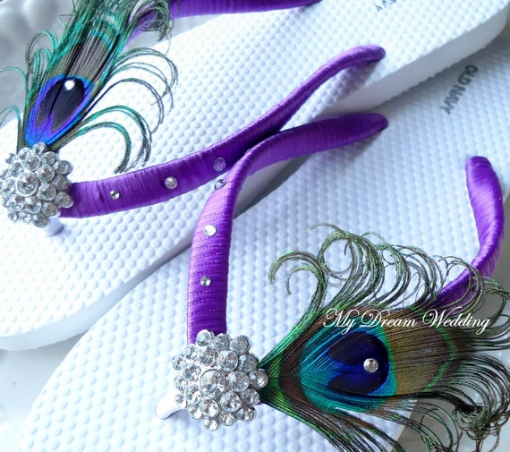Peacock  Flip flops. Swarovski Crystals ,made in your wedding colors -TROPICAL WEDDING Collection-