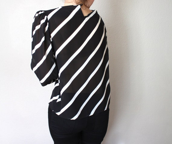 Vintage Black and White Sheer Blouse