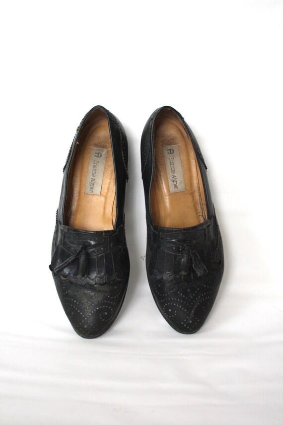 Vintage Soft Black Leather Oxford Loafer // 9m