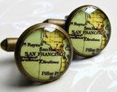 San Francisco, CA CuffLinks - Vintage Map - Silver or Antiqued Brass - Resin Waterproof - Wedding, Anniversary, Groom, Groomsmen Gift