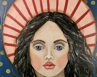 Folk Art Angel Portrait PRINT of Painting by Lore