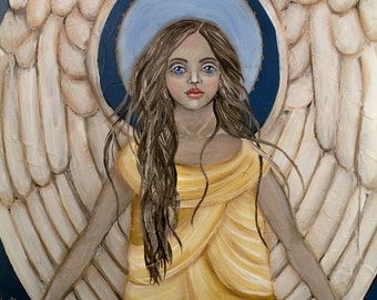 "Folk Art Angel ""Amid the Trials"" PRINT of Painting by Lore"