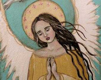 "Folk Art Angel Dove ""Angel's Prayer"" PRINT of Painting by Lore"