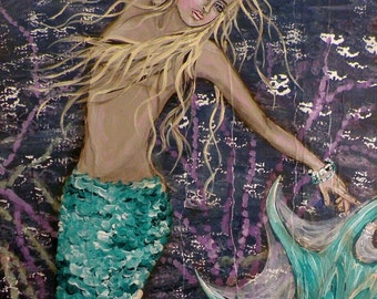 Mermaid Greeting Card Reproduction of Original Painting