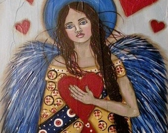 "Folk Art Angel ""The Heartkeeper"" Print of Painting"