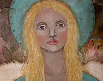 "Folk Art Angel Portrait PRINT of Painting ""Wait"" by Lore"