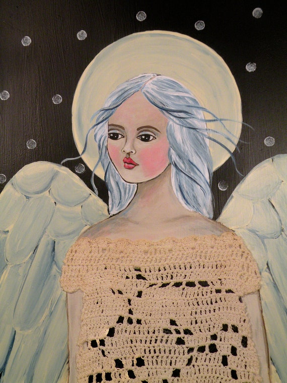 "Folk Art Angel in Crochet ""Midnight"" PRINT of Painting by Lore"