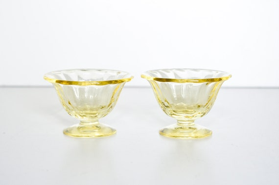 Vintage Yellow Glass Cups