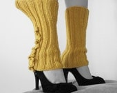 Ruffled Legwarmers (mustard yellow)(made to order, allow 2 weeks for delivery)