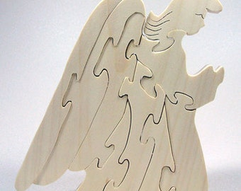 All Natural Eco Friendly Wooden Angel for Christmas