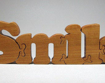 Wood Puzzle Custom Smile Cut All Natural, Organic, and Eco Friendly