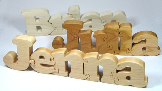Wooden Name Puzzle Personalized Wood Custom Cut All Natural, Organic, and Eco Friendly