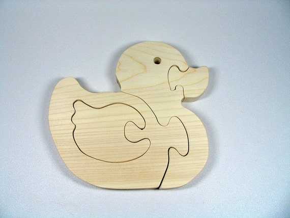 Wooden Duck Puzzle All natural organic wood baby duck
