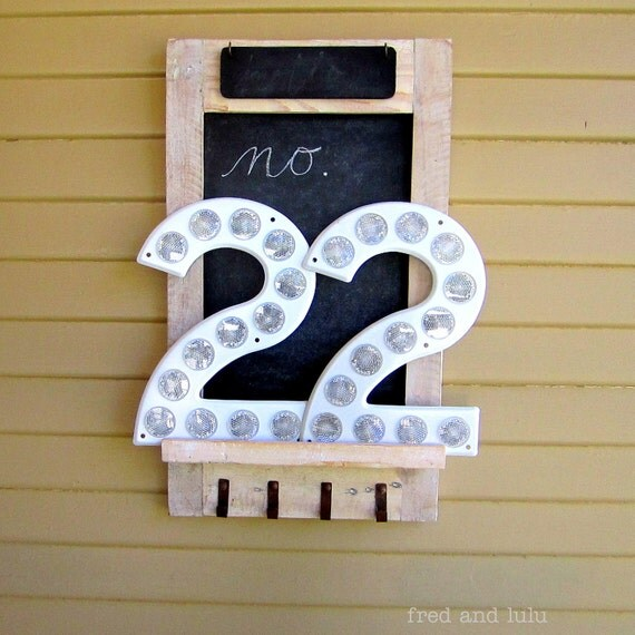 Number 22  Metal Highway Sign with Reflectors Over Ten Inches Tall