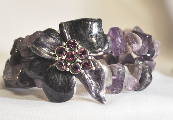 "Lovely ""Lilac"" Swarovski Crystal and Amethyst BRACELET"