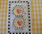 Mary Engelbreit Designer Buttons, Red Hearts with Ribbons