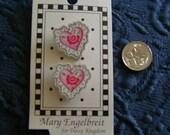 Mary Engelbreit Designer Button, Hearts, Lace Edge, Flower