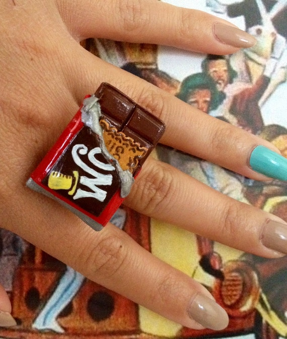 Wonka Bar with Golden Ticket Ring/Willy Wonka And The Chocolate Factory Inspired