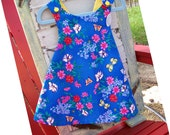 Baby Girls Toddlers Fully Lined Jumper Sundress, Size 9 - 12 Months, Blue Floral