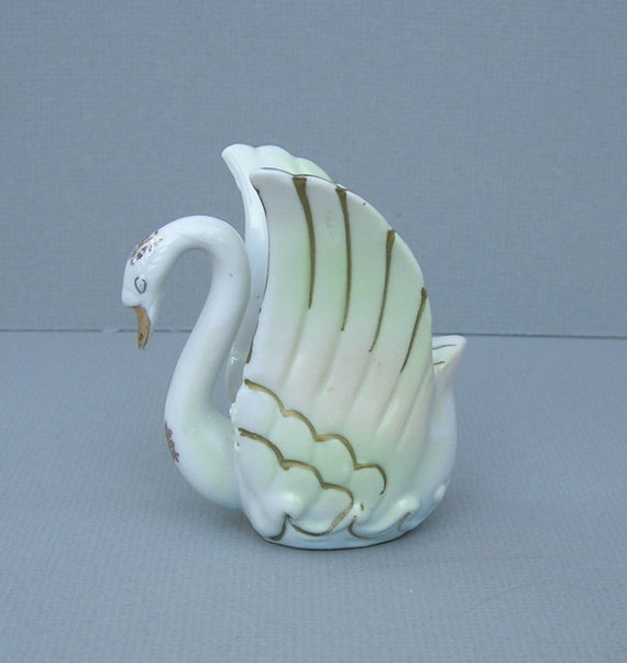 Vintage Porcelain Swan Candle Holder with Gold Trim Swan Votives