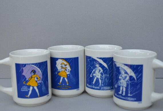 Vintage Morton Salt Coffee Cups Set Of 4 Mugs