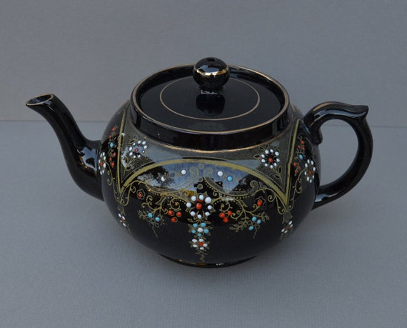 Vintage Clifton England Redware Teapot With Gold Overlay