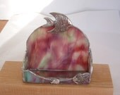 Stained glass business card holder: rose with fish
