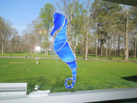 Sea horse stained glass suncatcher blue