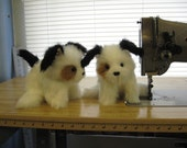 White and Black Puppy Dog Hand Puppet