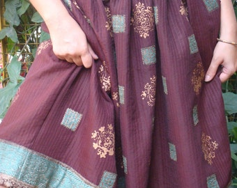 Upcycled hand blocked skirt made from vintage sari