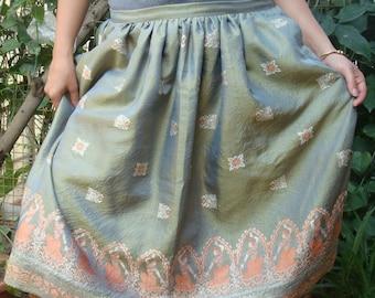 Gathered silk skirt made from vintage sari, silk skirt, knee length skirt, women's skirt, ethnic skirt, indian skirt, sari skirt