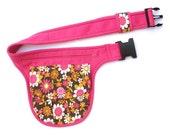 Pink waist bag, vintage floral pattern
