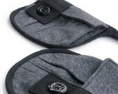 Black pocket belt - Black gray hip pack - Recycled belt bag - Black gray zipper pockets - Bicycle belt bag