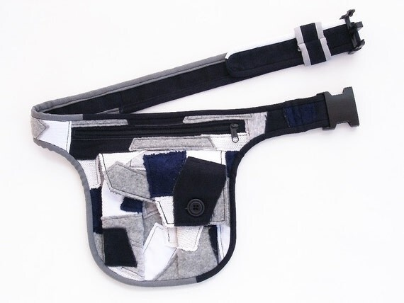RESERVED - Chaotic belt bag, handmade, patchwork, blue, gray, white