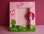 Picture Wood Frame with Little Fairy Doll - Wooden Character - Made in France by Flowers & Dolls