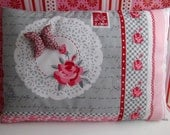 Cushion 35x40cm Flowers Red Pink Grey Designs