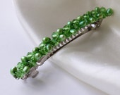 green pearl barrette - freshwater pearl and crystal hair barrette clip slide pin for wedding or prom silver