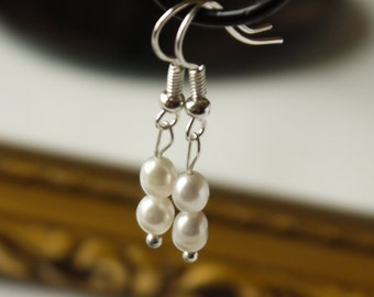 delicate ivory white freshwater rice pearl silver fish hook dangle earrings