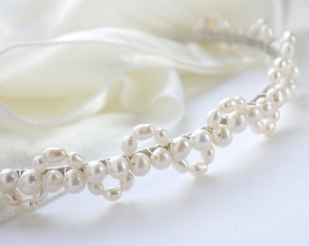 freshwater ivory pearl tiara rice and round pearl silver alice band headband larger lace design for bride, wedding