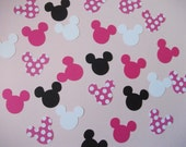 Ready to Ship - Minnie Mouse Birthday Party Confetti Hot Pink Polka Dot- 200 pieces