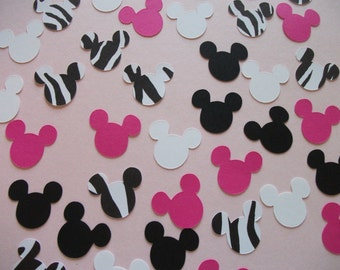 Ready to Ship - Minnie Mouse Birthday Party Confetti Hot Pink Zebra- 400 pieces