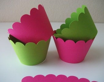 Ready to Ship - 12 Hot Pink and Lime Green Cupcake Wrappers