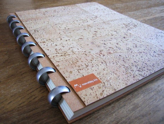Handmade cork-lined Diary / Sketchbook - sustainable - keep cover & exchange pages