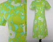 1960s Shift Dress S, Mod Print Floral, Aqua Lime White, by Nancy Frock, Vintage