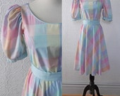 Sun Dress, Pastel Plaid with Scoop Neck, Cotton Blend, size Small or XS, Vintage 1970's
