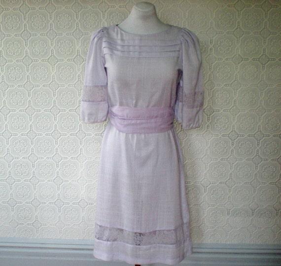 Peasant Dress L, Lavender and Lace Dress, by Seneca, Vintage 1970's